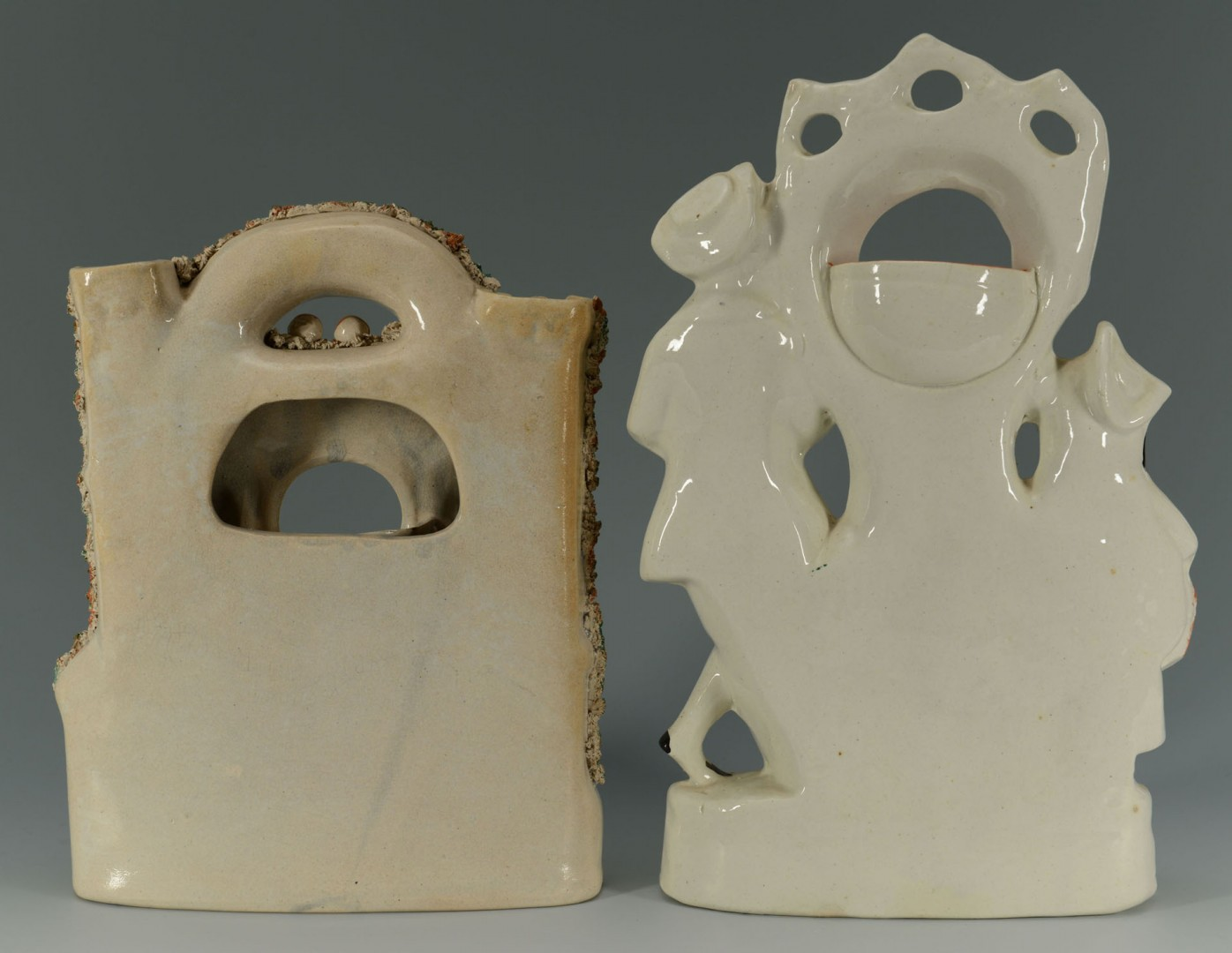 Lot 444: 2 Staffordshire Pottery Watch Holders