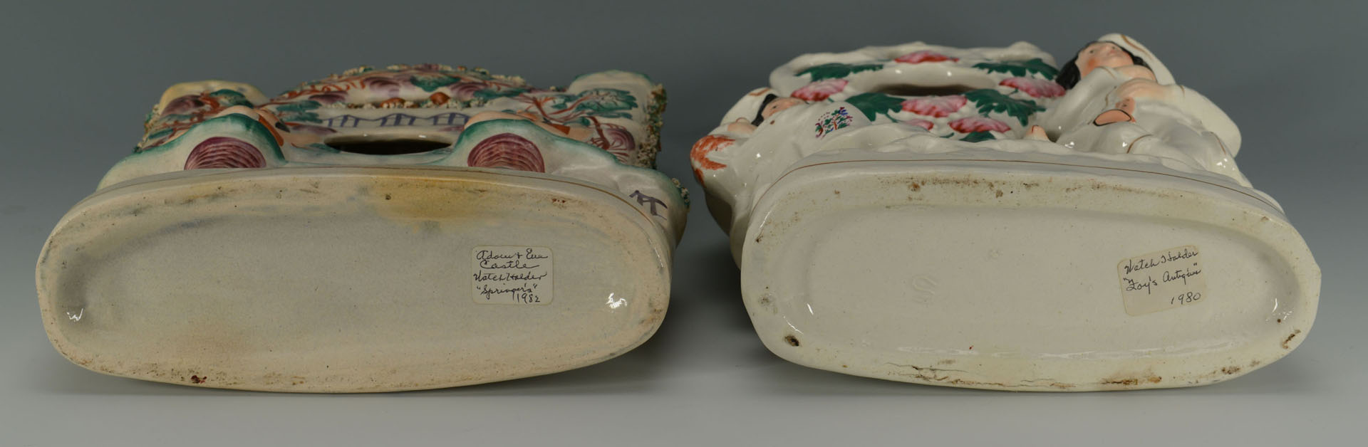 2 Staffordshire Pottery Watch Holders