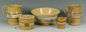 Lot 446: 5 Pieces of Yellowware mocha seaweed patt.