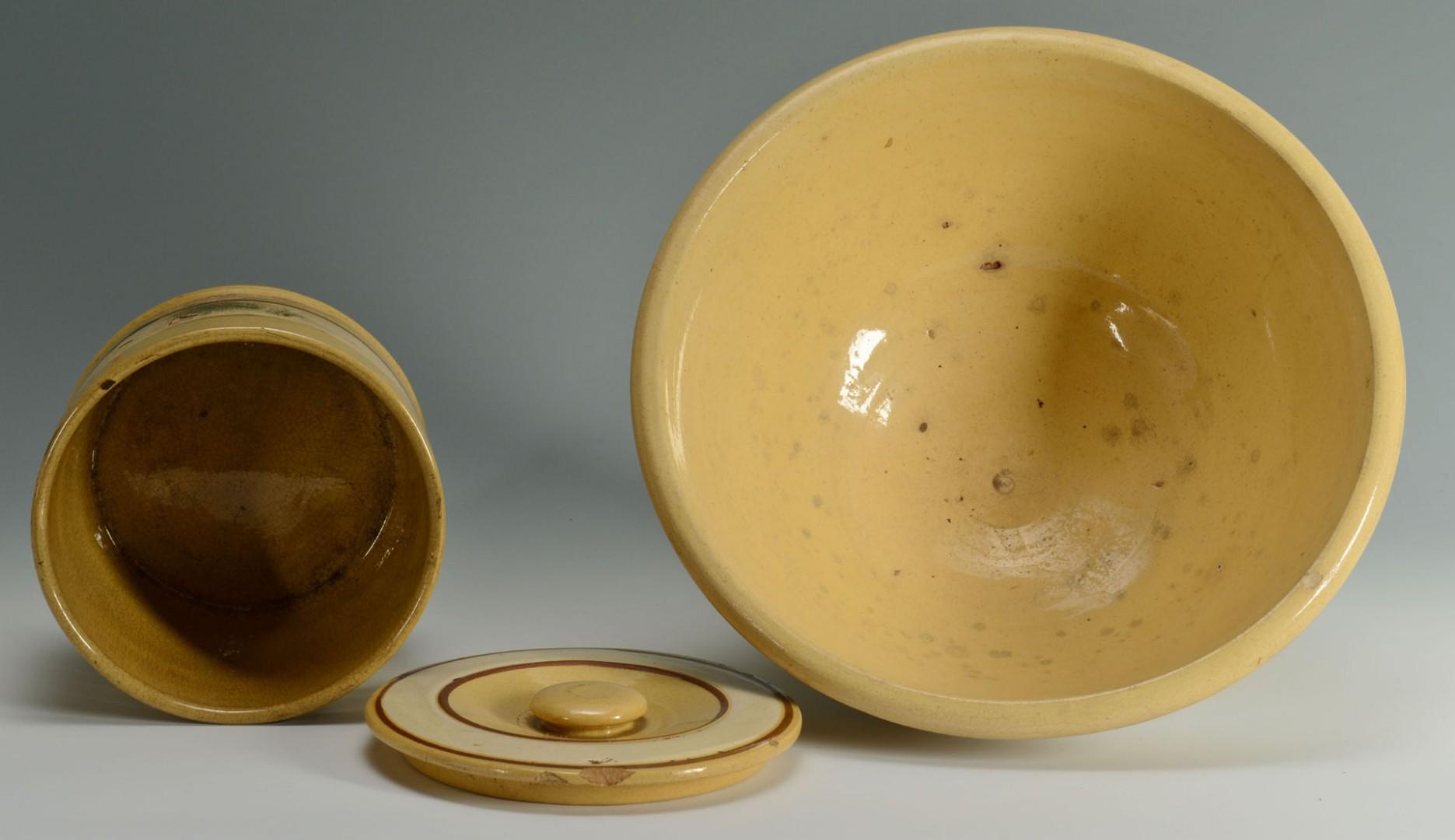 Lot 446: 5 Pieces of Yellowware mocha seaweed patt.