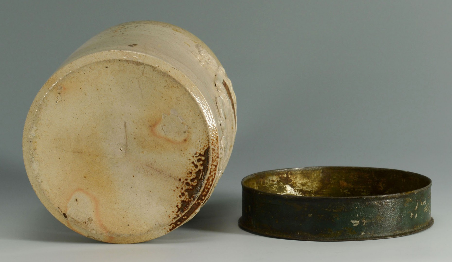 Lot 447: Stoneware Apothecary Jar and French Sardine Box