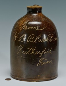 Lot 452: H. B. Blackburn Rutherford, TN Whiskey Jug