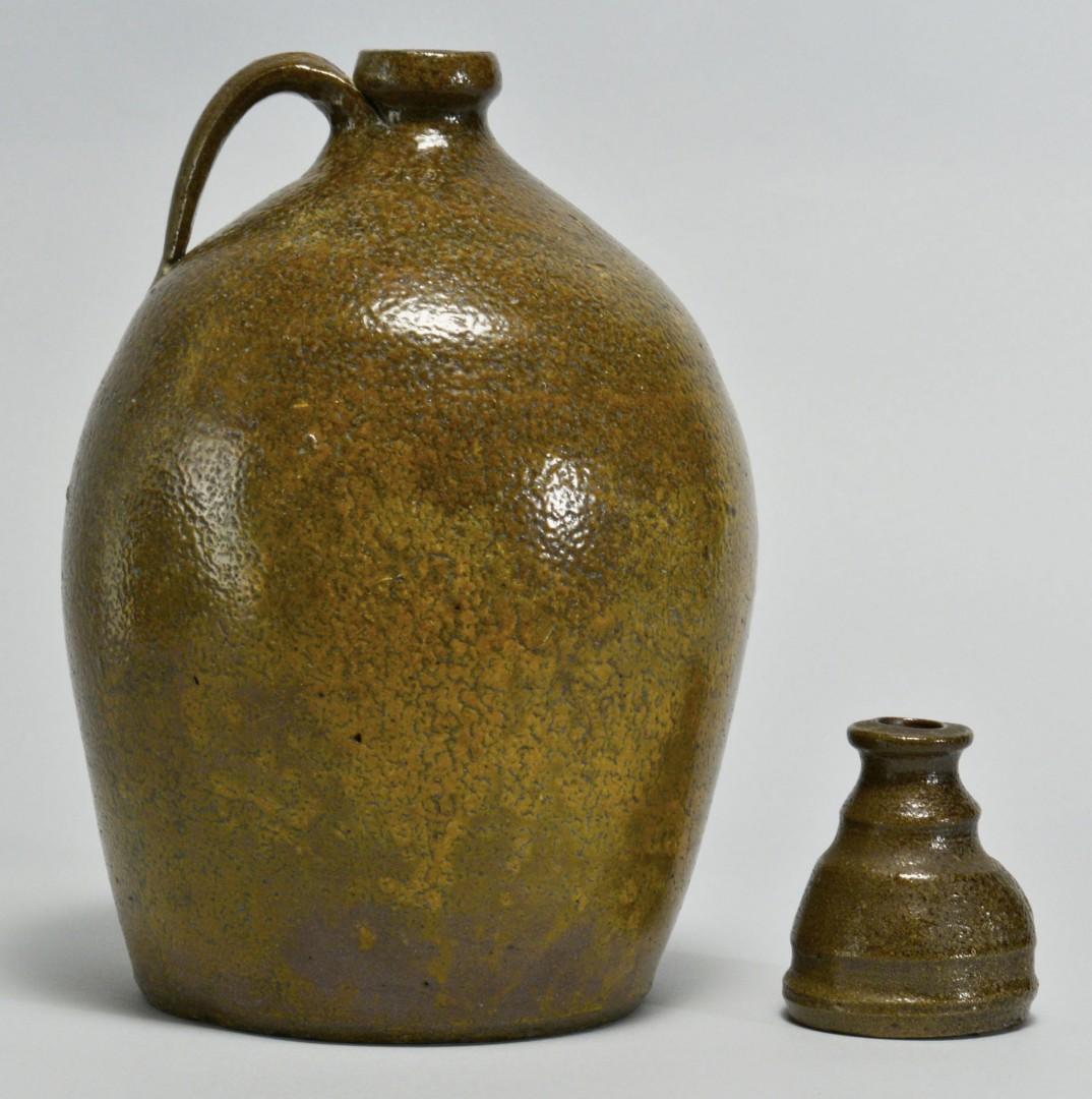 Lot 453: Southern Stoneware Pottery Jug & Inkwell