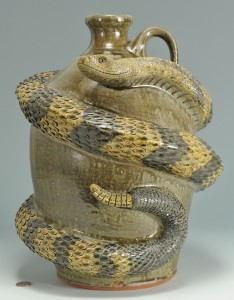 Lot 454: Michael & Melvin Crocker Rattlesnake Jug