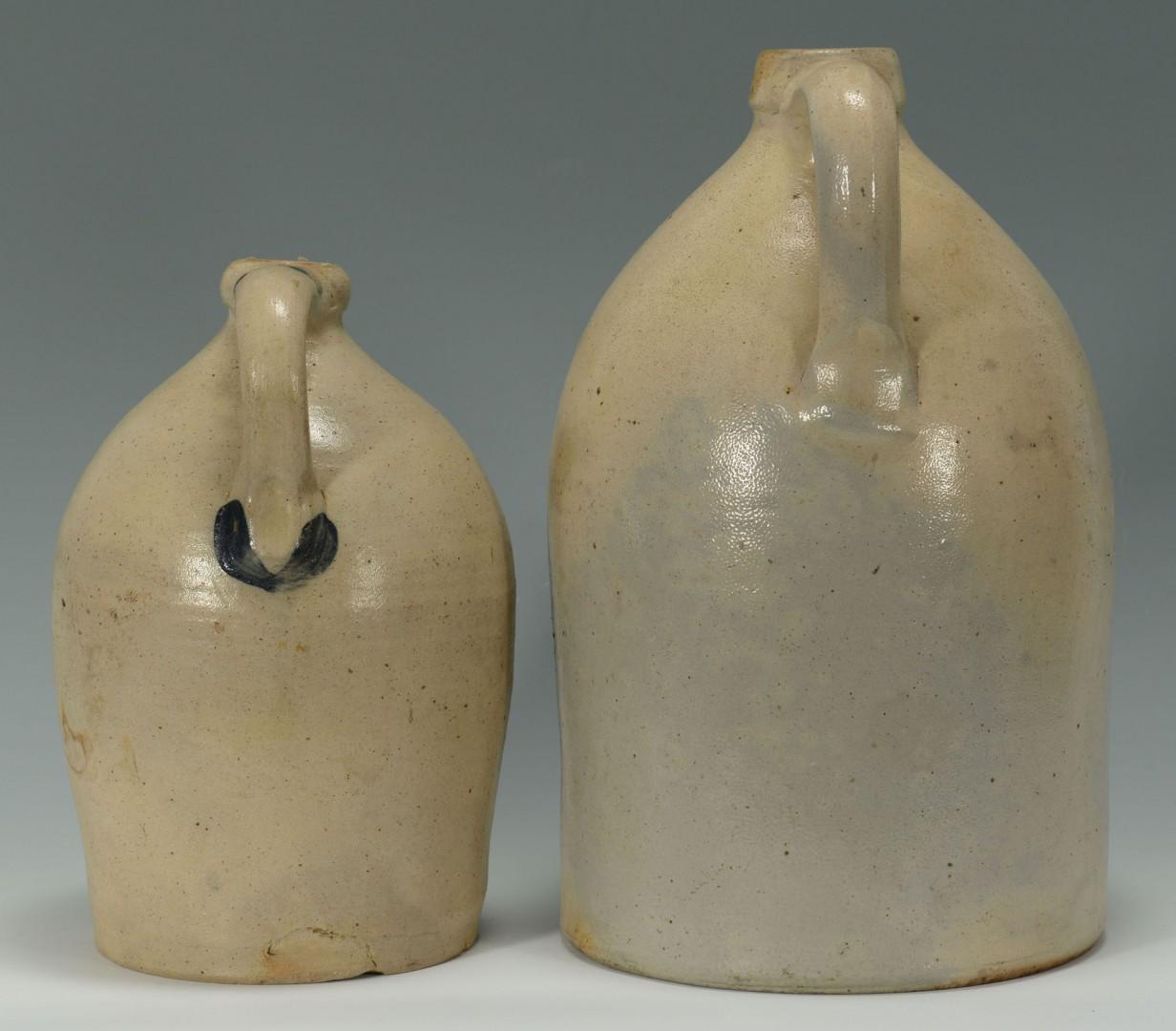 2 Cobalt Decorated Stoneware Jugs, New England