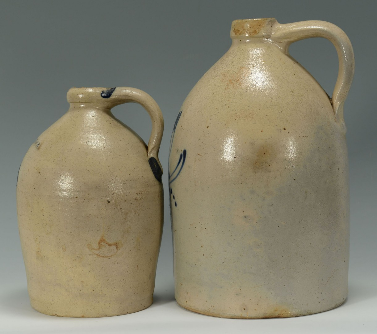 2 Cobalt Decorated Stoneware Jugs, New England
