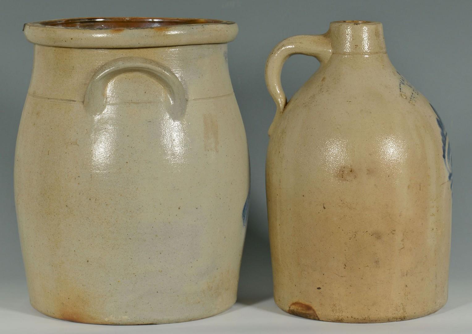Cobalt Decorated Stoneware Jug and Jar, New England