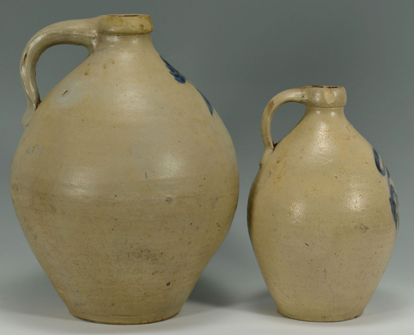 Lot 458: 2 Cobalt Decorated Ovoid Stoneware Jugs, NE