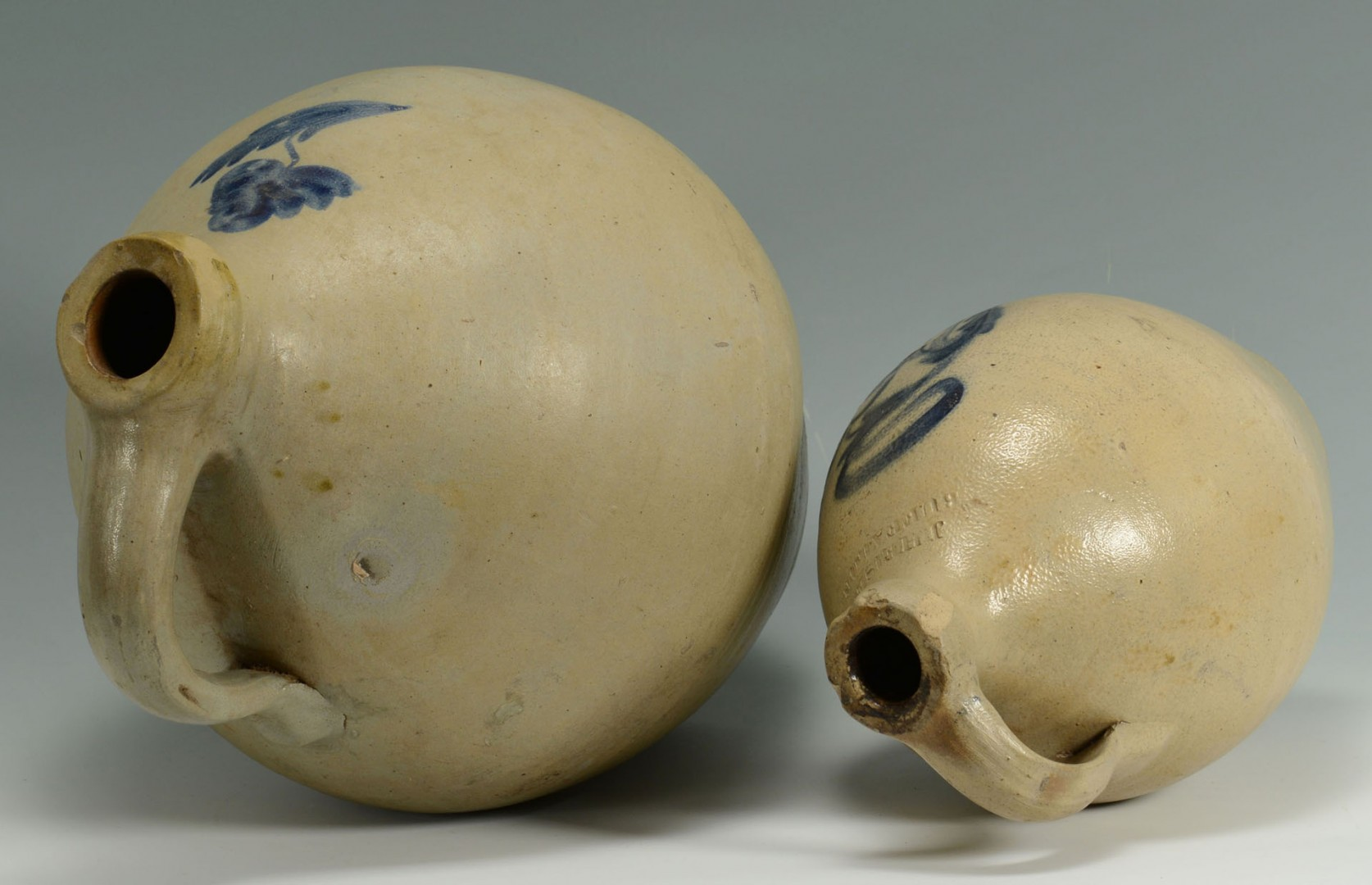 2 Cobalt Decorated Ovoid Stoneware Jugs, NE