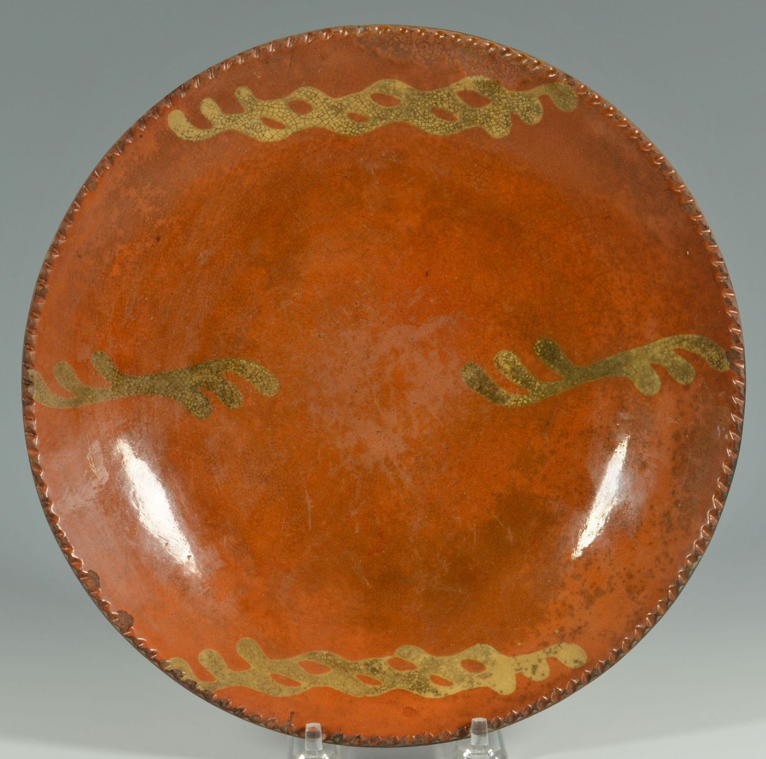 Pair of 19th c. slip decorated redware plates