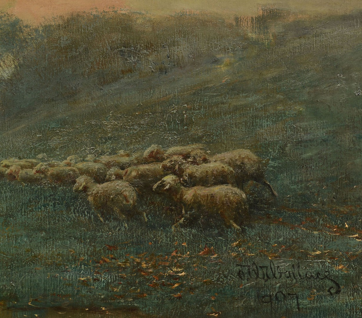 Large East TN Pastoral Landscape, J. W. Wallace, 1907