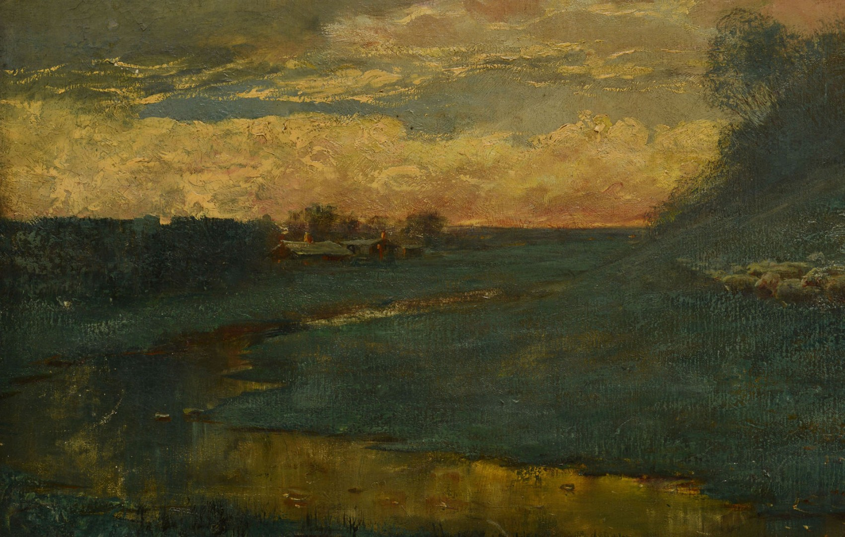 Large East TN Pastoral Landscape, J. W. Wallace, 1907
