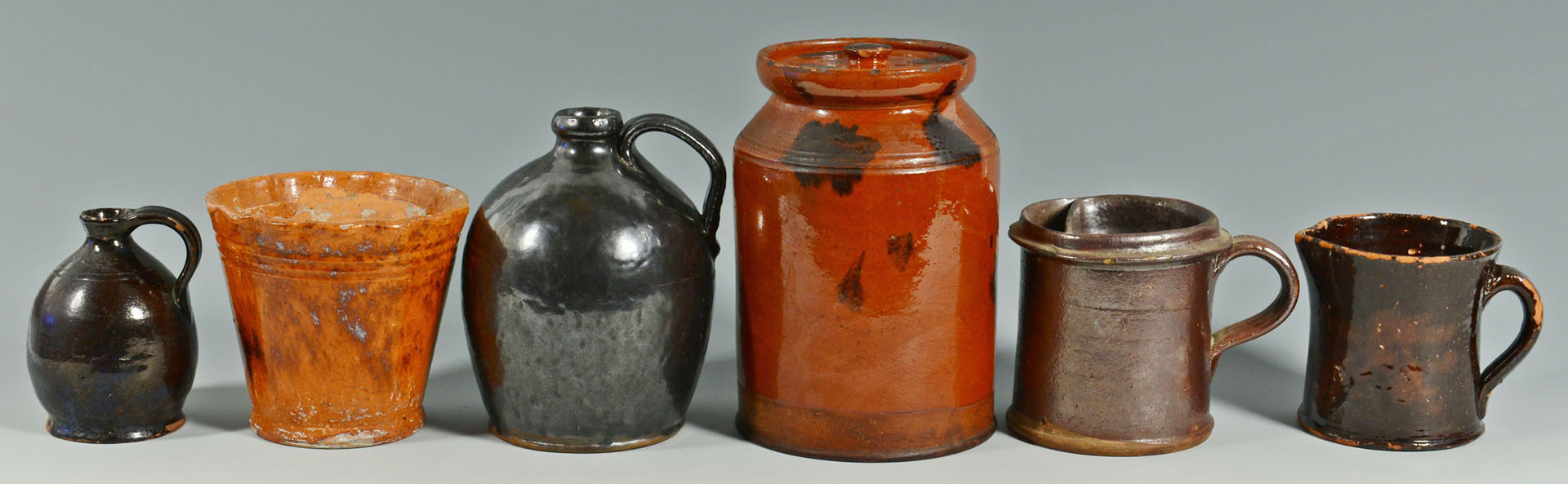 13 New England & NY/PA pottery items, most Redware