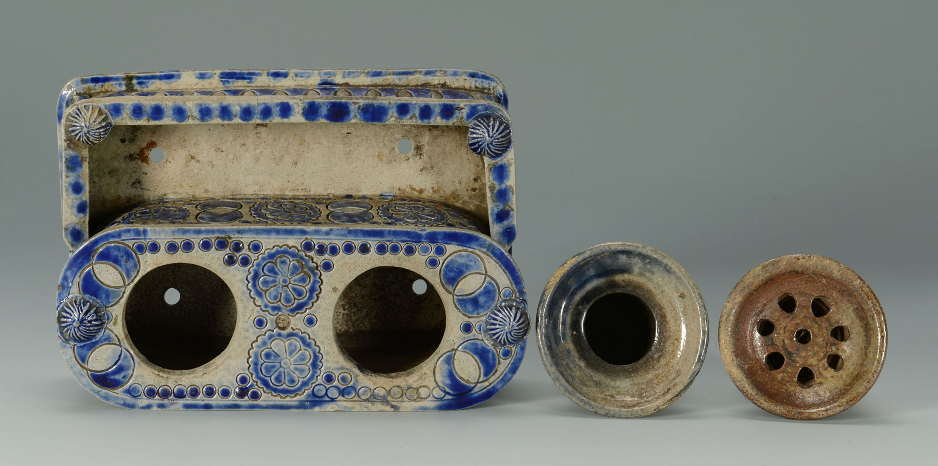 Cobalt Decorated Inkwell and 2 baskets