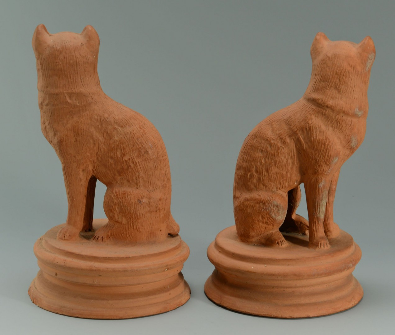 Pair of Terra Cotta Cats  and 2  Cow Creamers