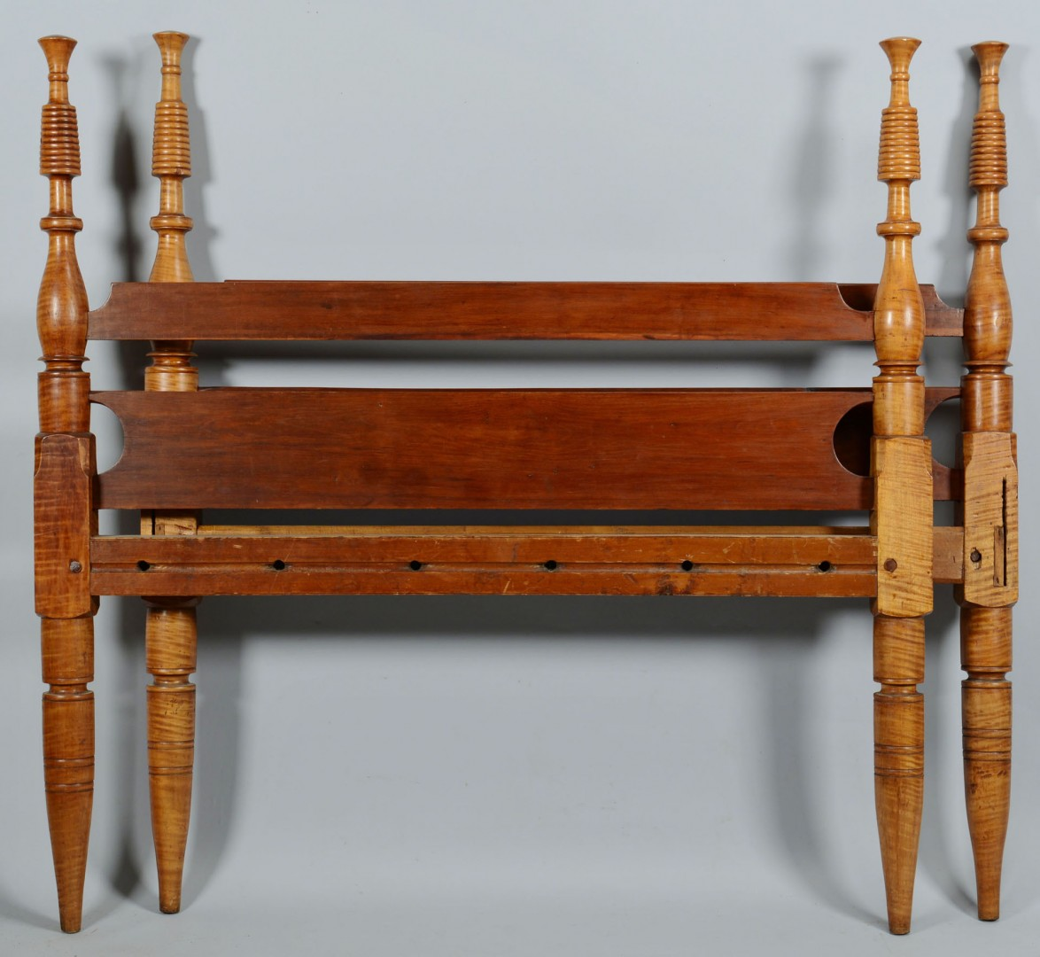 Lot 473: American Country Tiger Maple Bed
