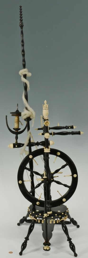 Lot 475: Ivory & Bone Flax Wheel w/ Ebonized Wood Turnings