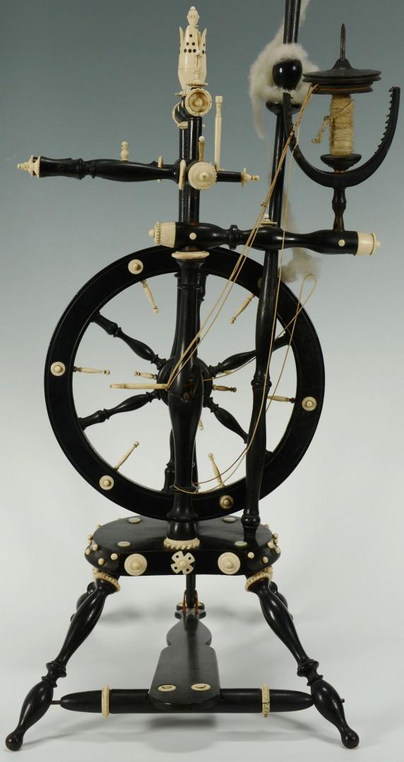 Lot 475: Ivory & Bone Flax Wheel w/ Ebonized Wood Turnings