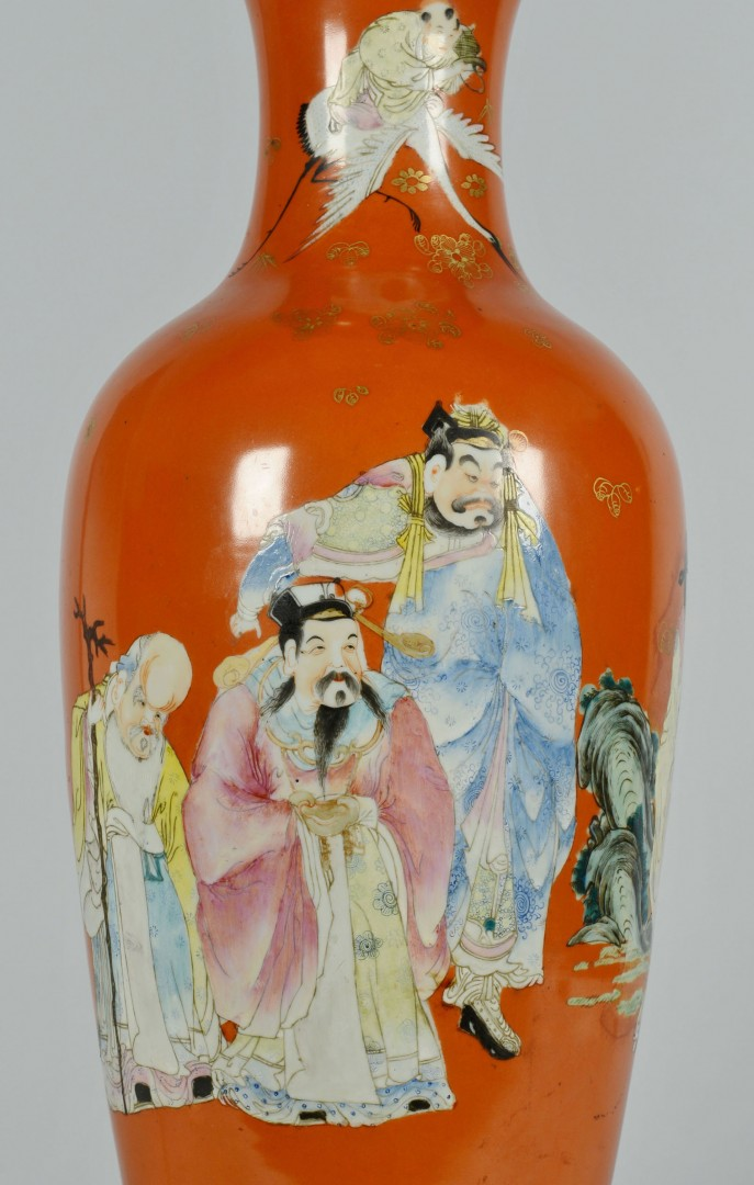 Lot 476: Chinese Famille Rose Porcelain Lamp
