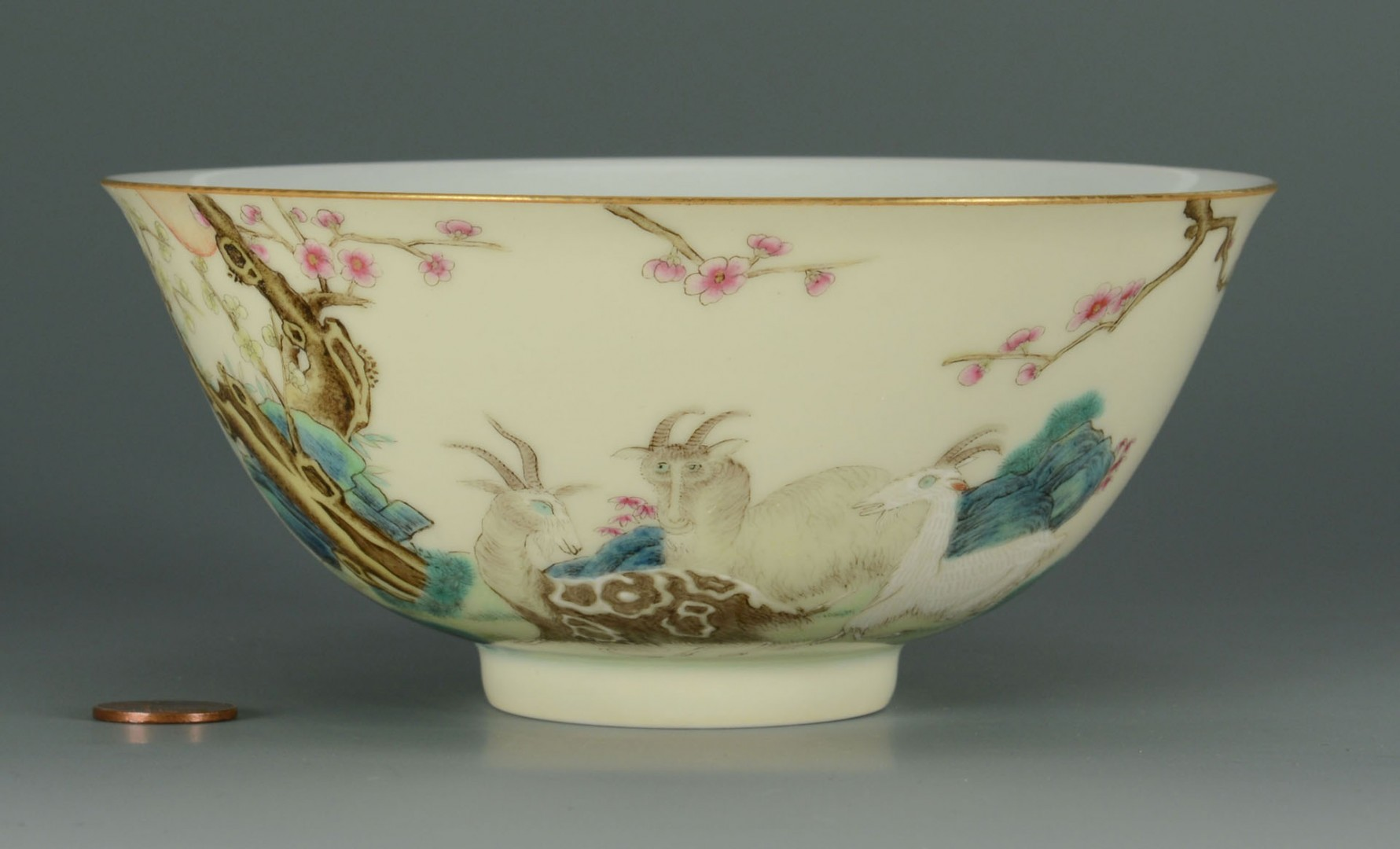Lot 478: Chinese Famille Rose Bowl w/ Goats