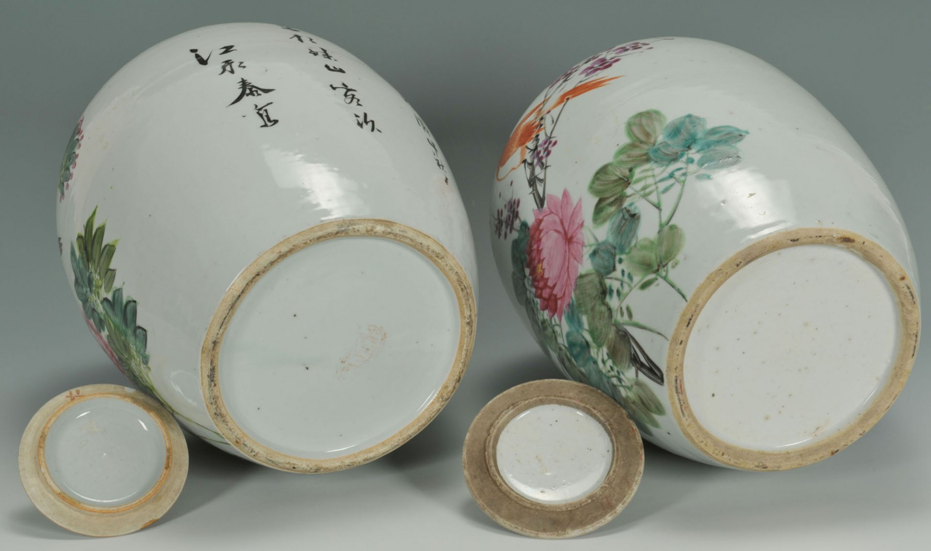 Lot 480: Chinese Famille Rose Ginger Jars