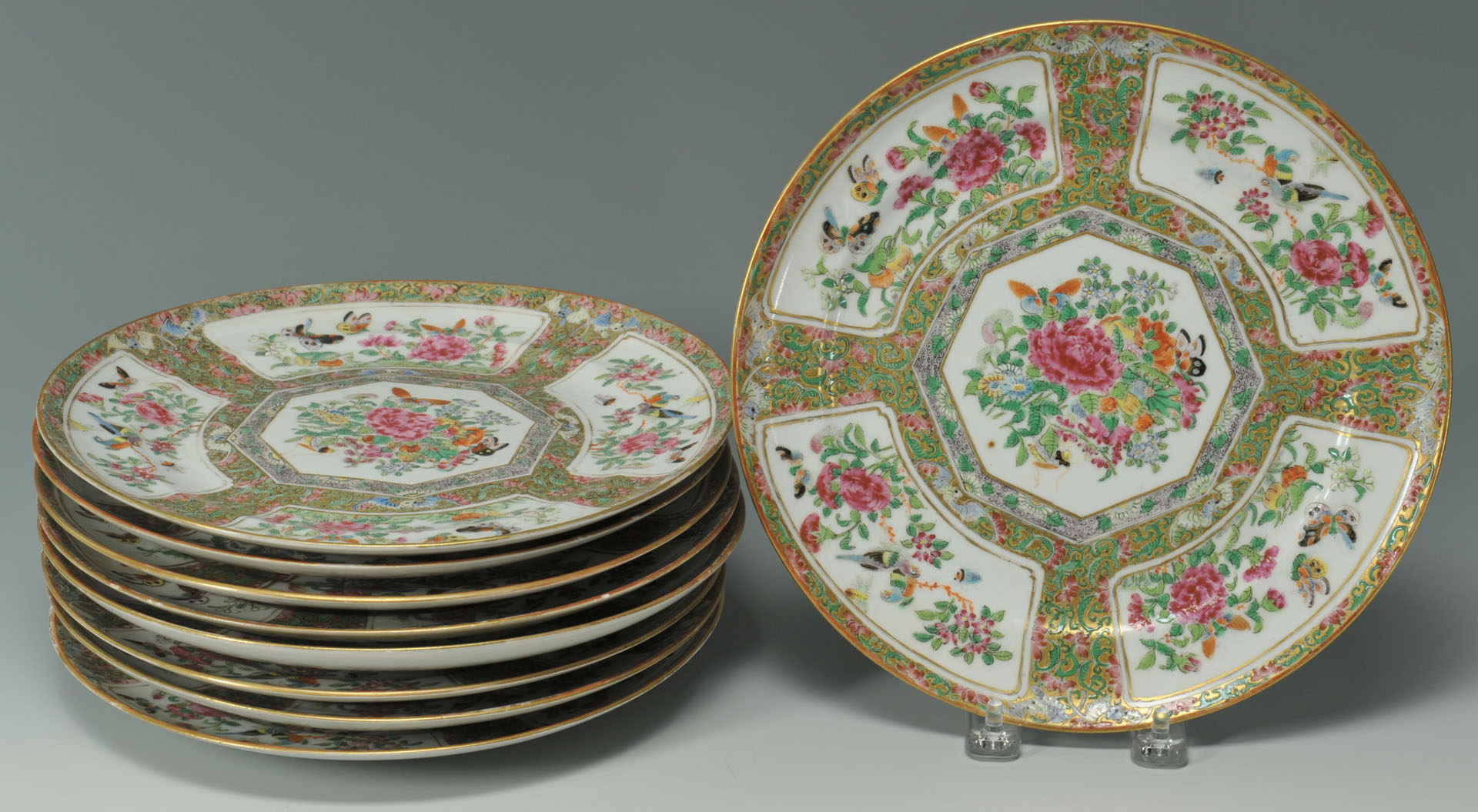 Lot 482: 9 Rose Medallion Dinner Plates