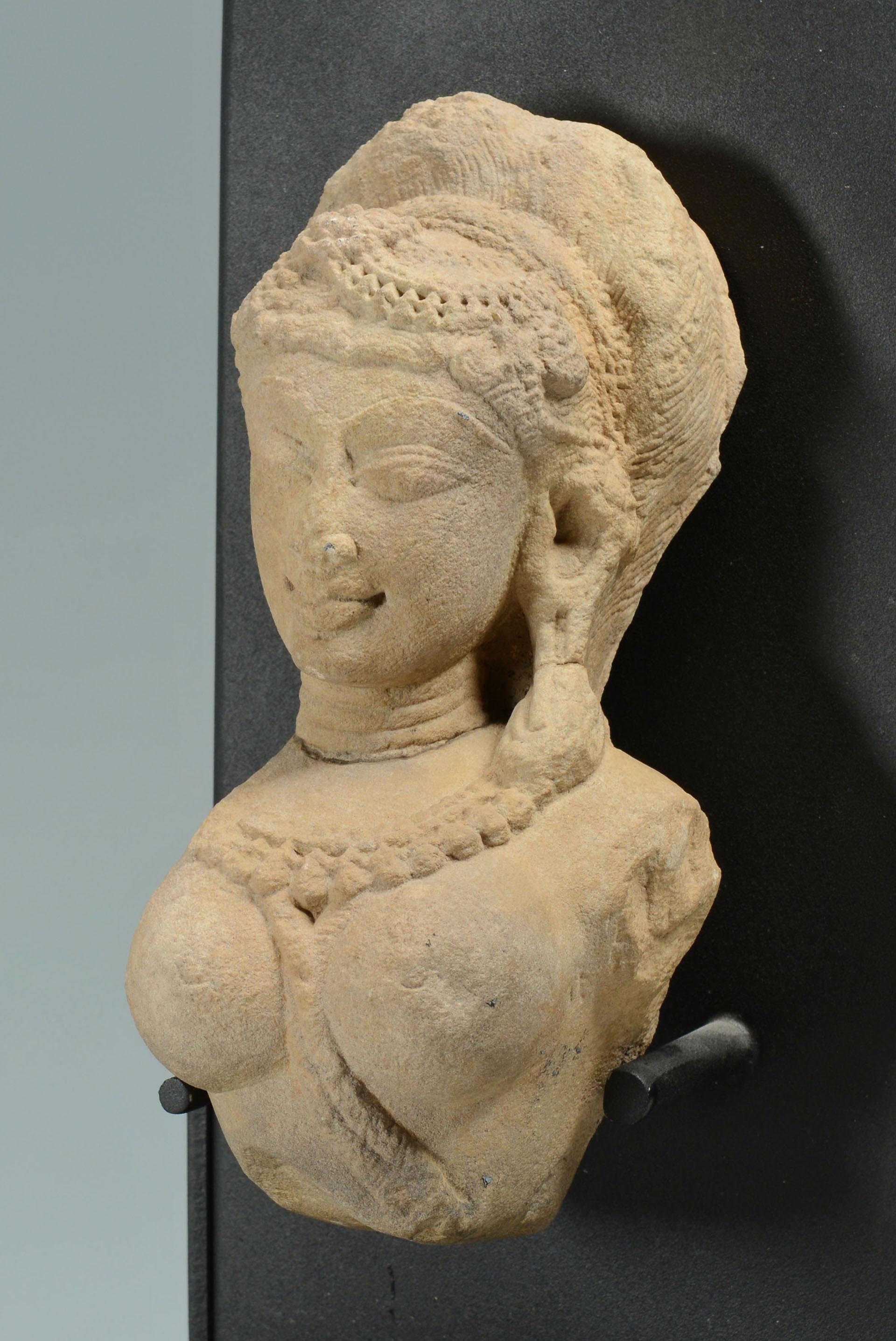 Hindu goddess stone temple carving