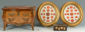 Lot 486: Quill Box, Framed Wax Seals, Miniature Chest