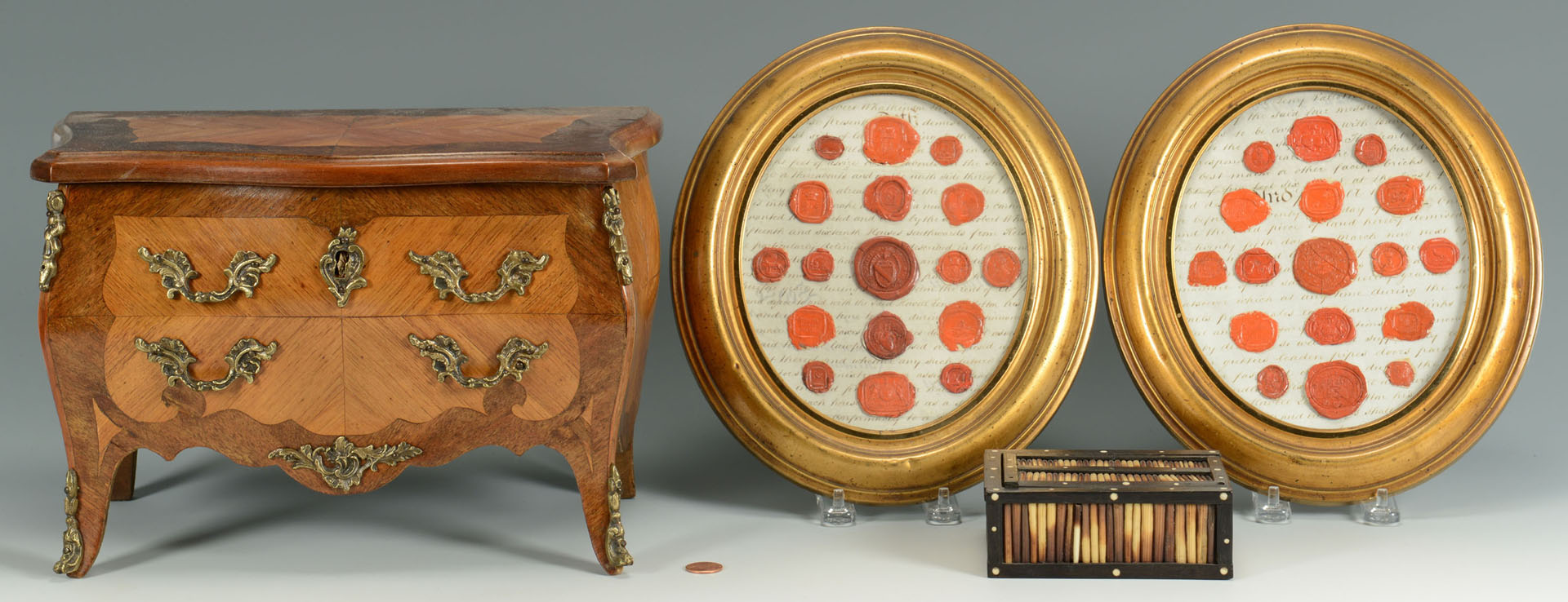 Quill Box, Framed Wax Seals, Miniature Chest