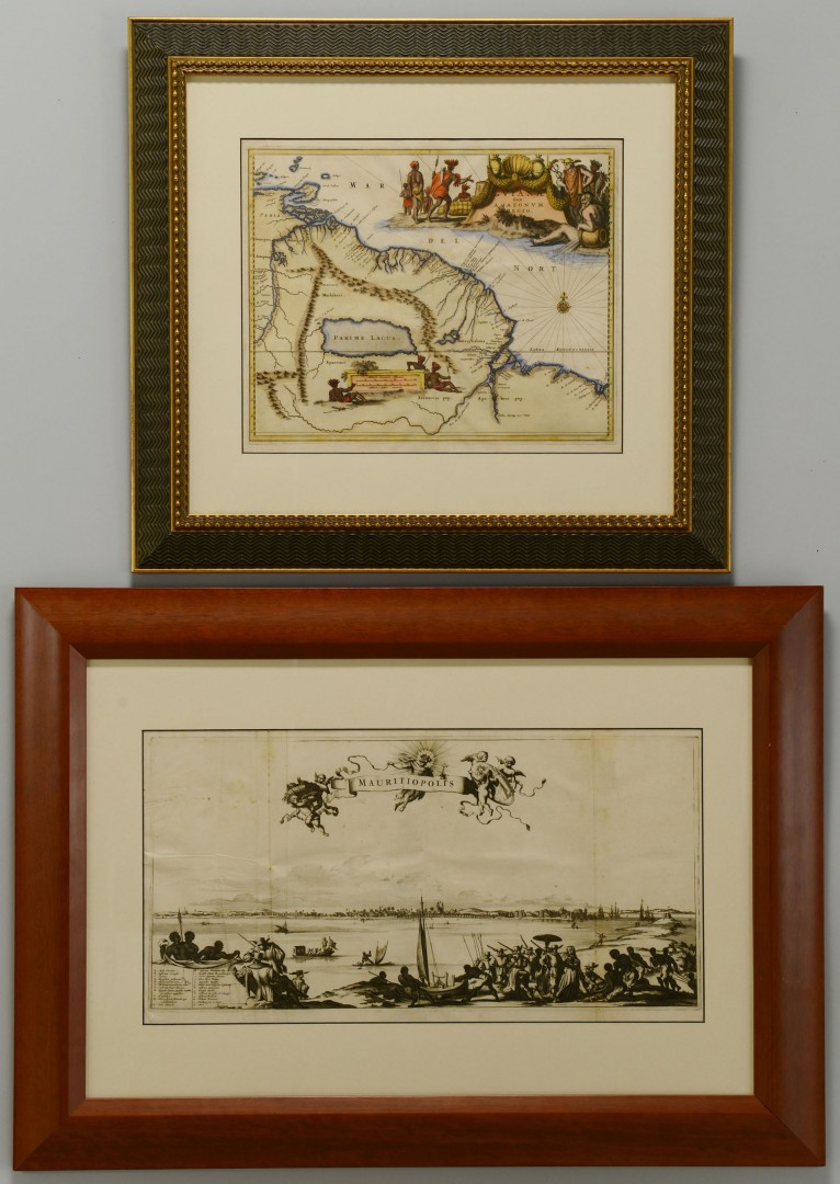 Lot 488: 17th Century S. American Map and Engraving, 2 item