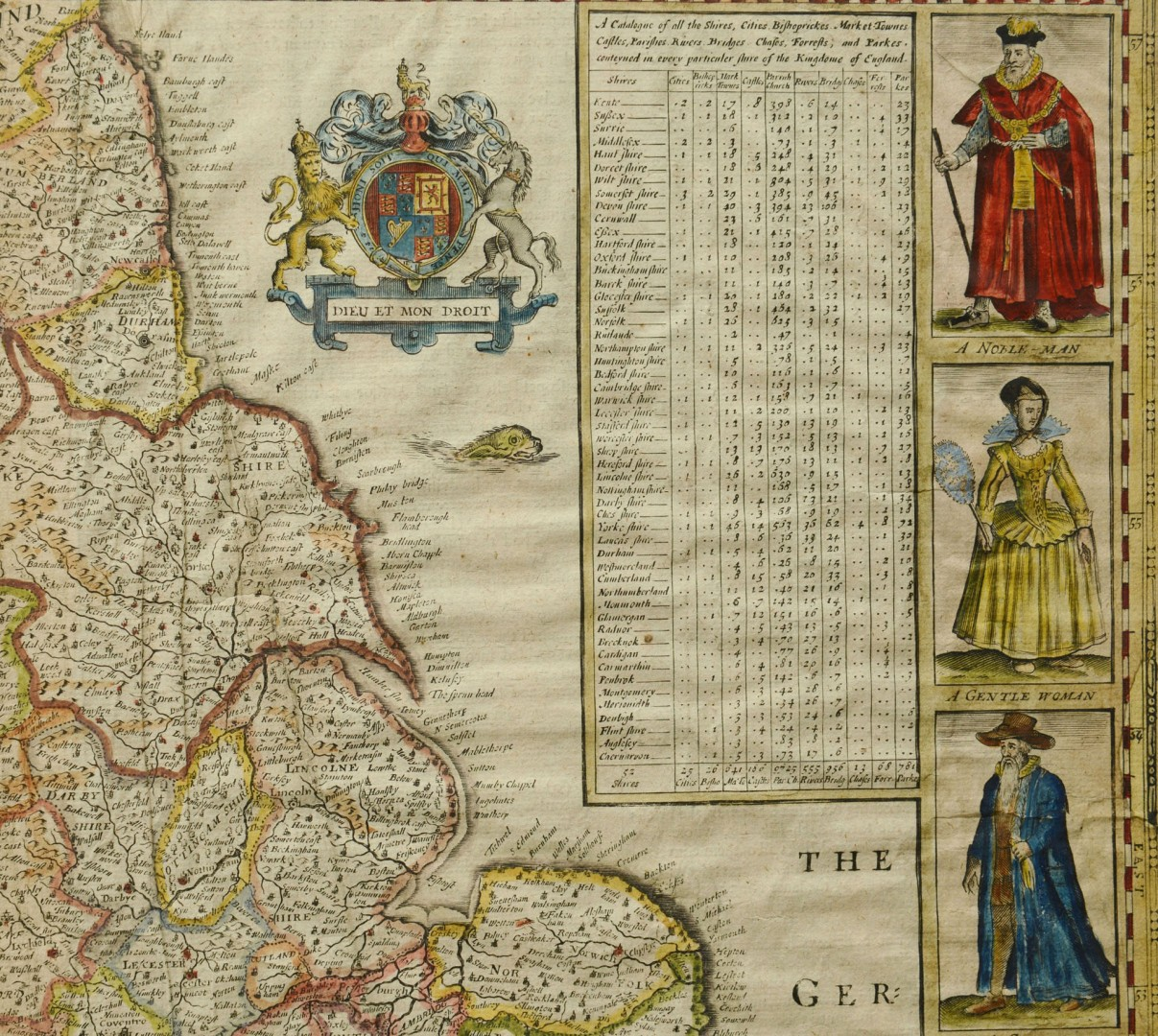 Abraham Goos Hand Colored Map of England