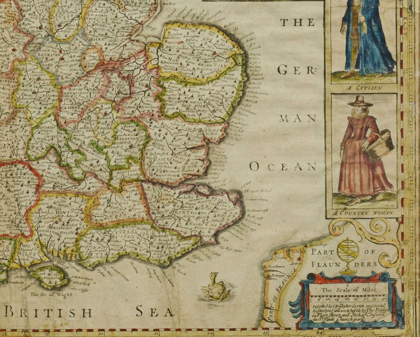 Lot 489: Abraham Goos Hand Colored Map of England