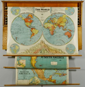 Lot 490: Oak Map Case w/six large maps c.1920