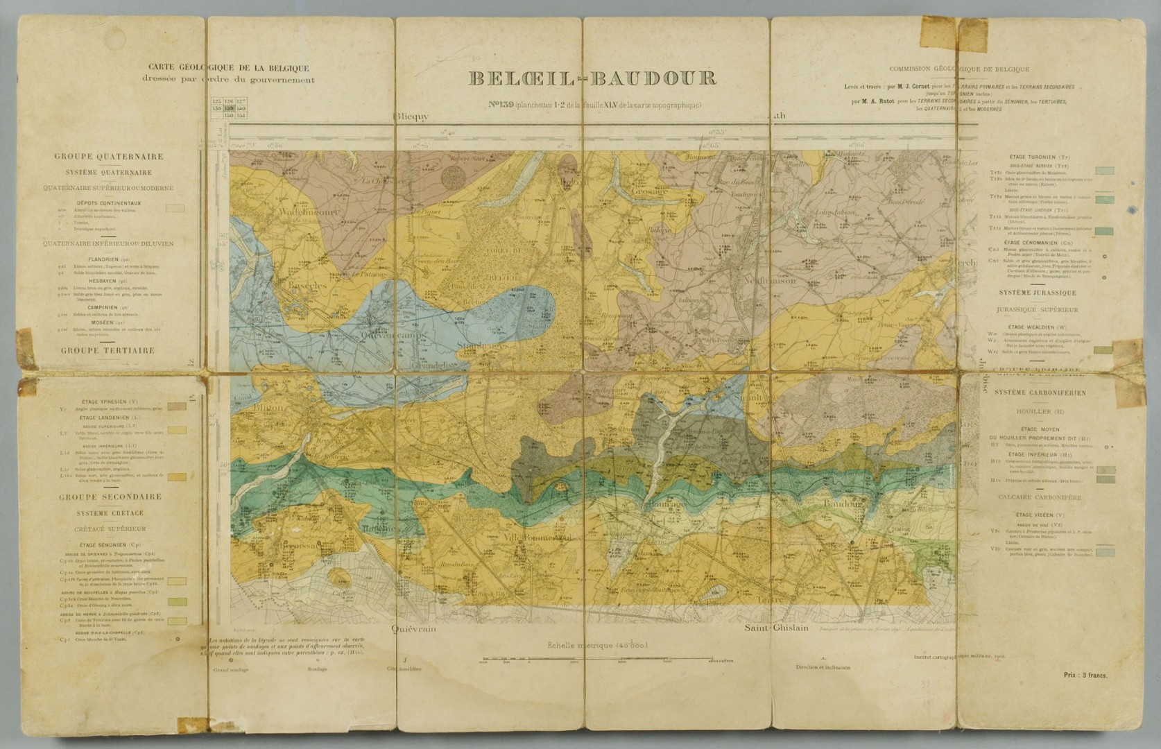 6 framed topography maps of Belgium, early 20th c