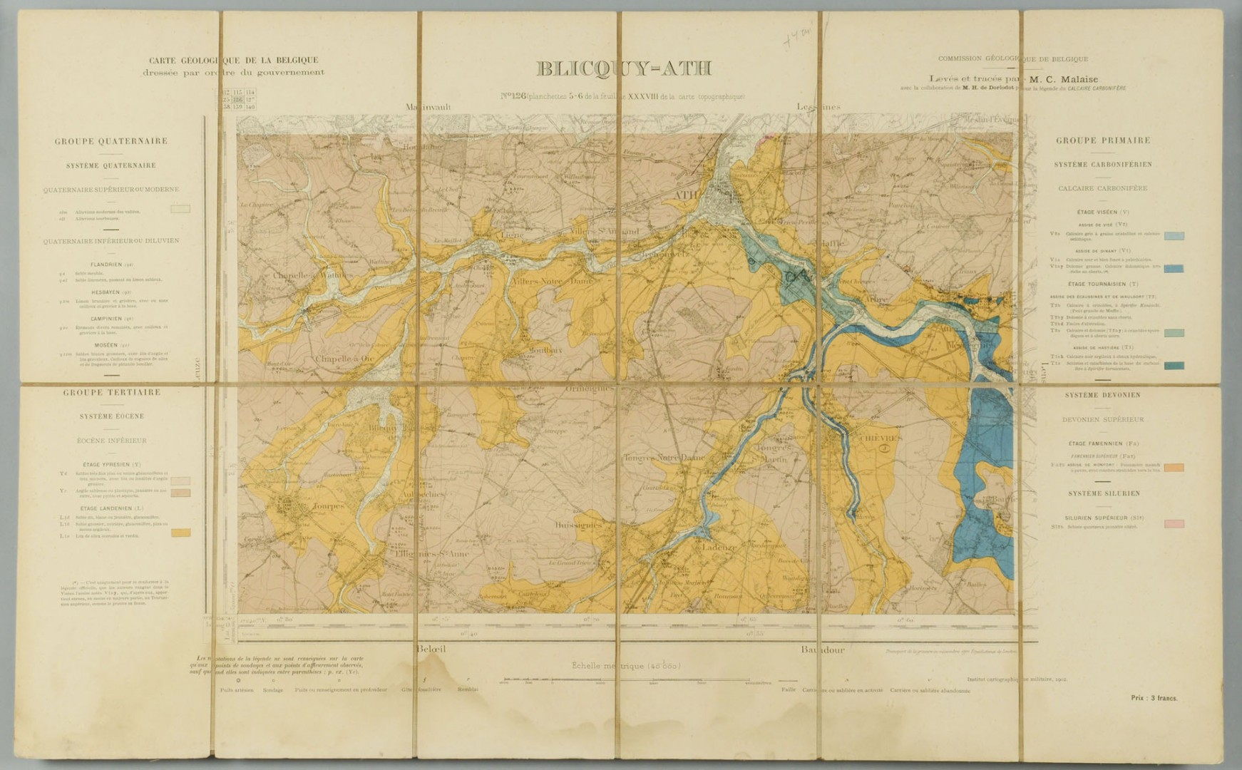 Lot 491: 6 framed topography maps of Belgium, early 20th c