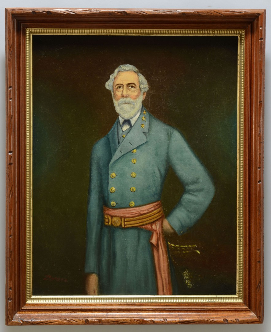 Lot 495: Portrait of Robert E. Lee on tent canvas