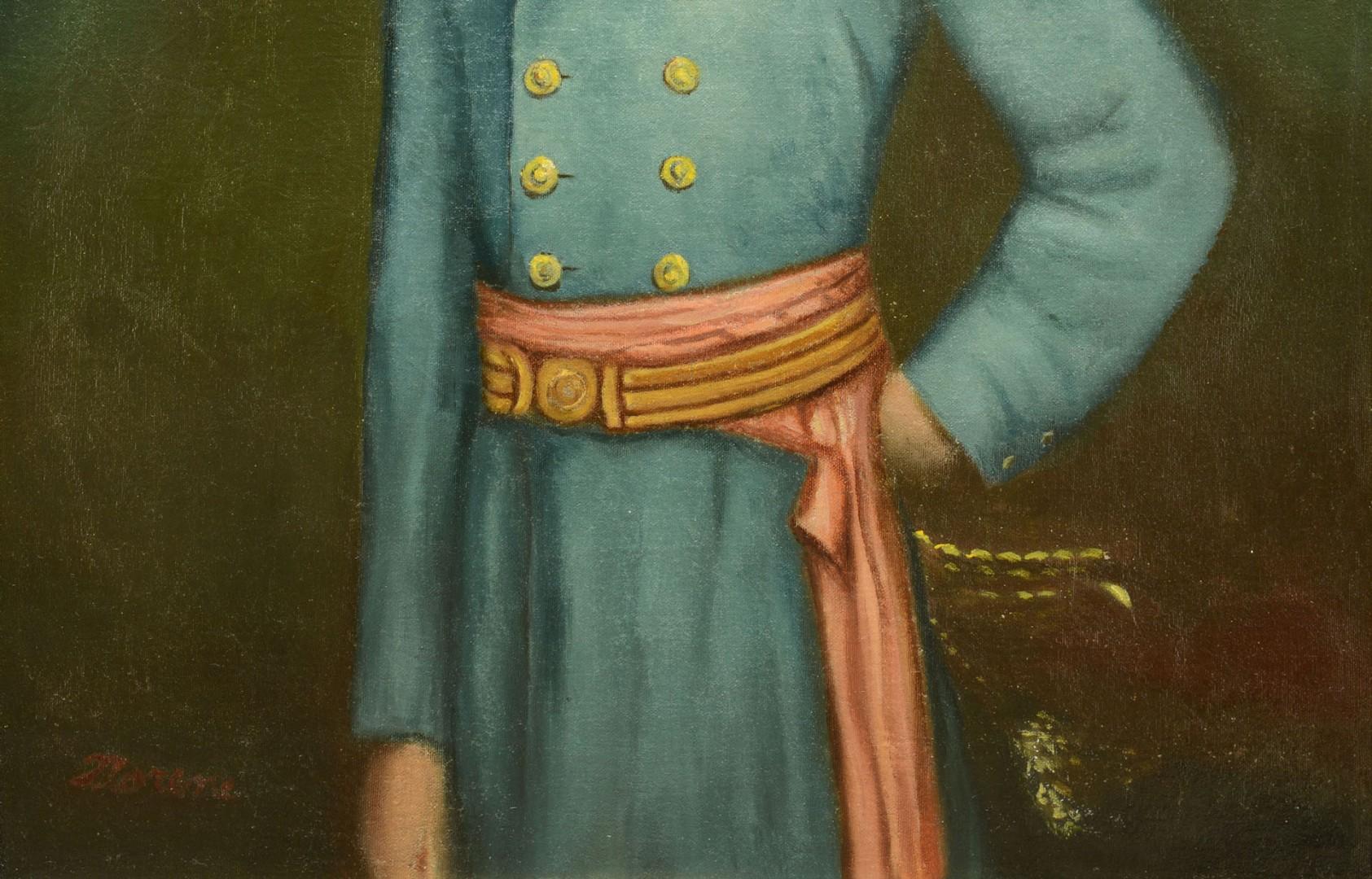 Portrait of Robert E. Lee on tent canvas