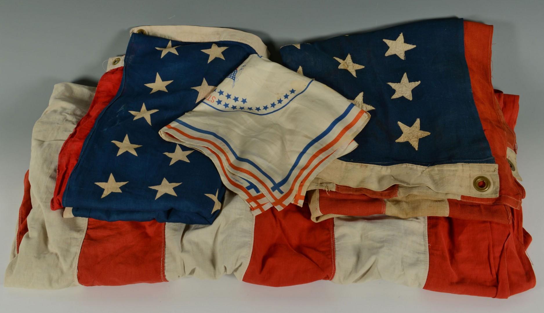 Lot 499: Harrison Handkerchief; 2 45-Star Flags; 1 48 star
