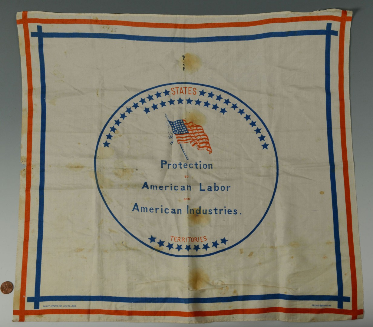 Lot 499: Harrison Handkerchief; 2 45-Star Flags; 1 48 star