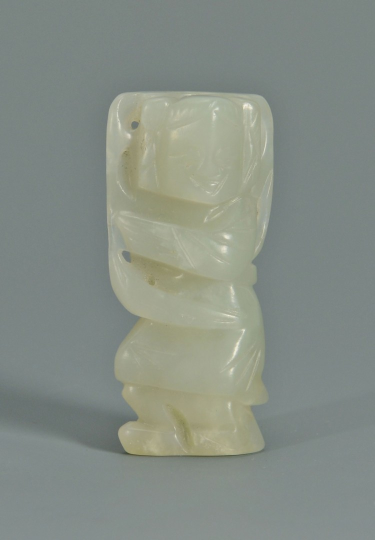 Lot 4: 3 Chinese Celadon Jade Carvings
