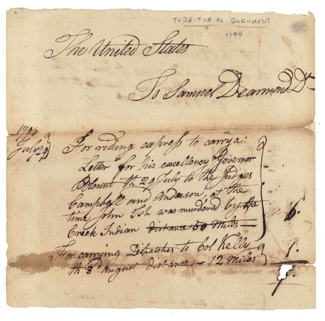 Lot 501: 1794 Tennessee Territorial Land Grant