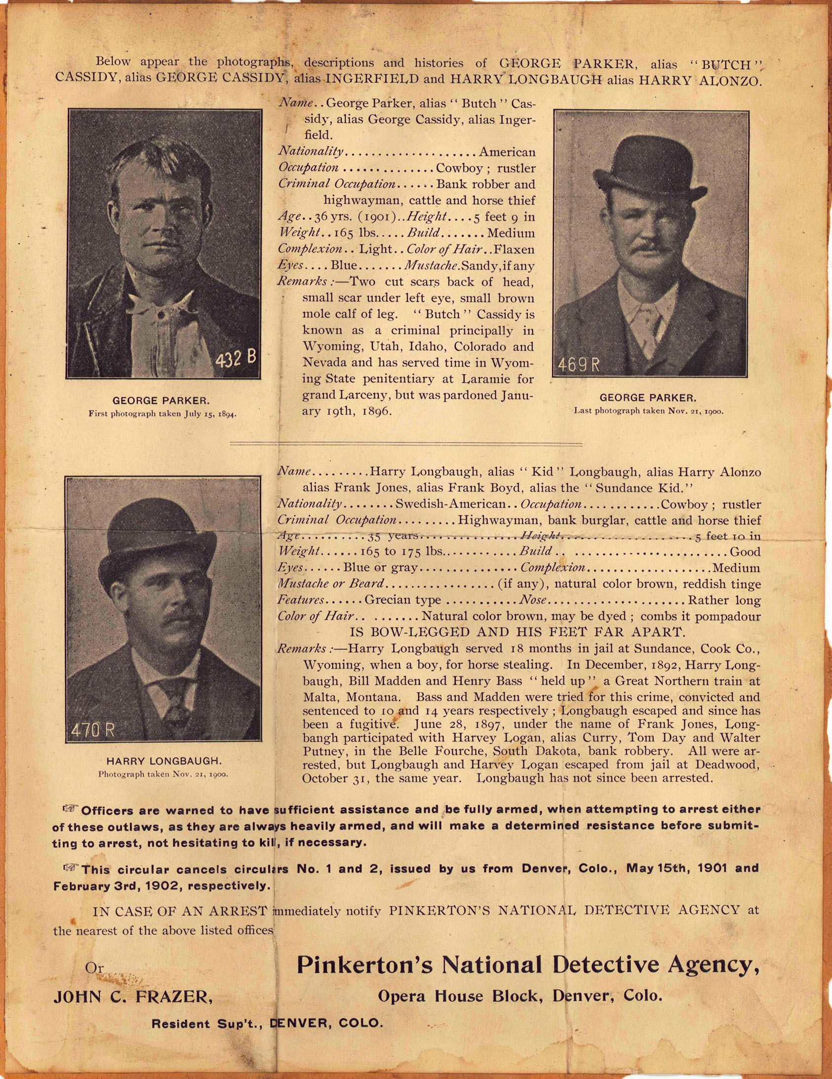 lot 507  1904 butch cassidy and sundance kid wanted poster