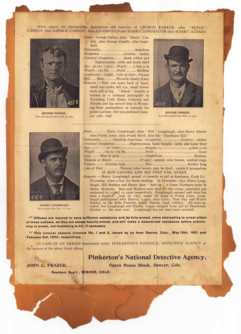 Lot 507: 1904 Butch Cassidy and Sundance Kid Wanted Poster