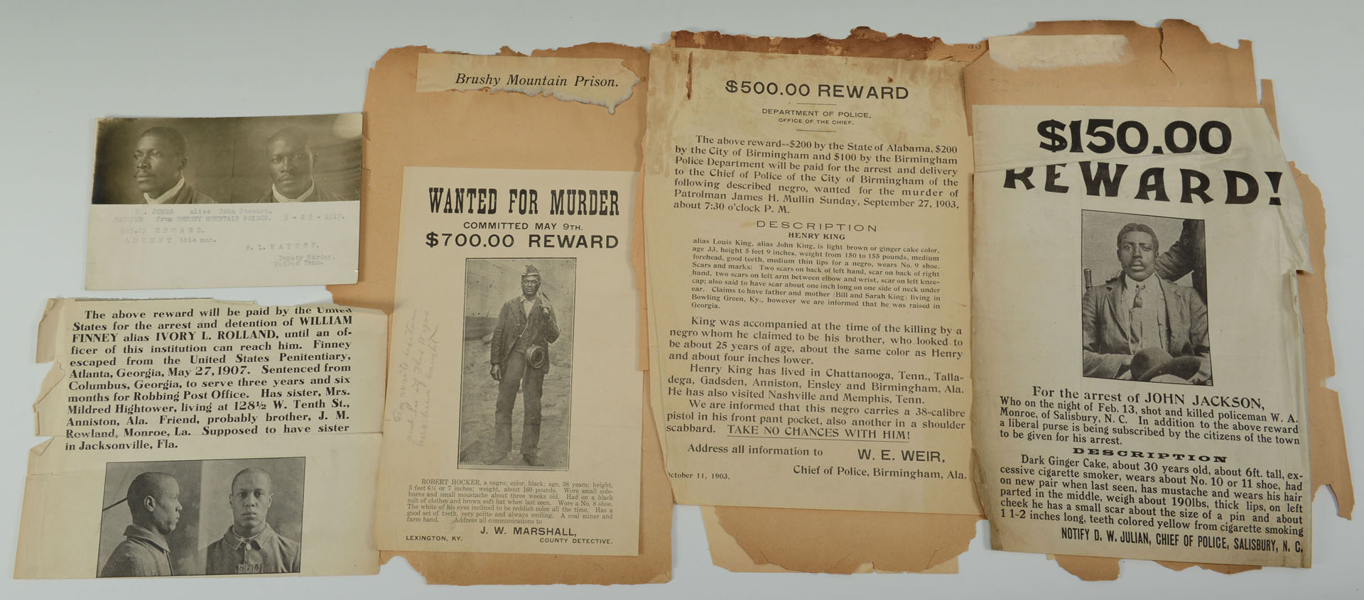 Group of African American Wanted Notices