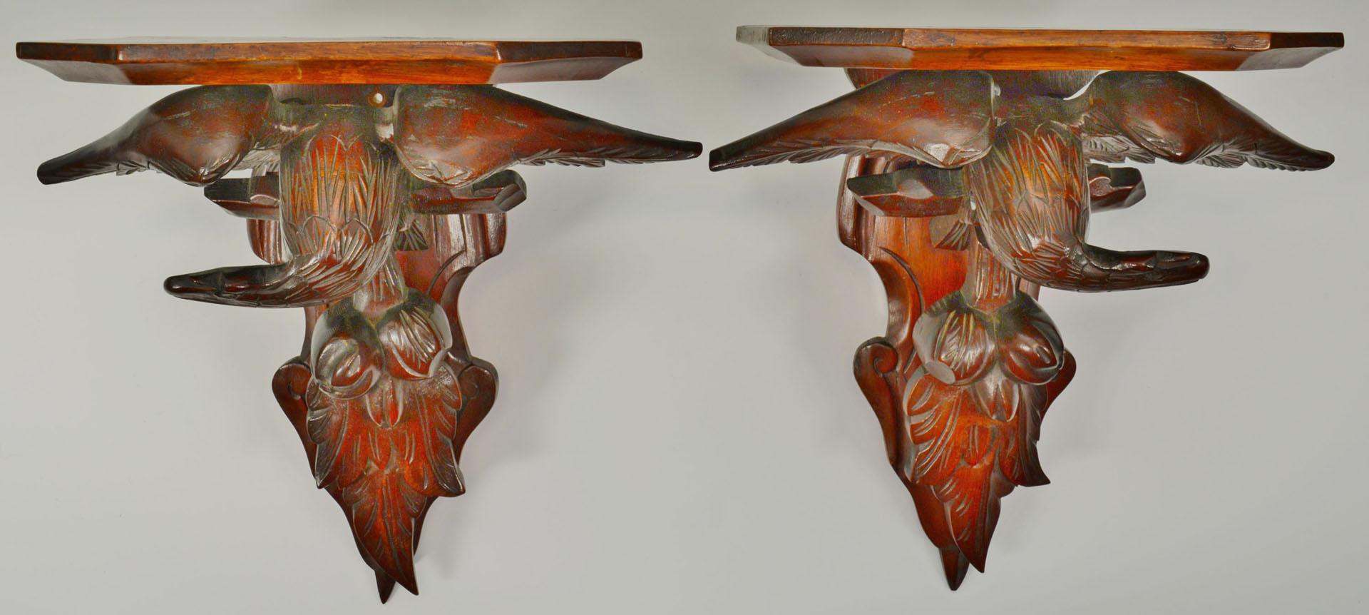 Pair Carved Mahogany Eagle Wall Brackets