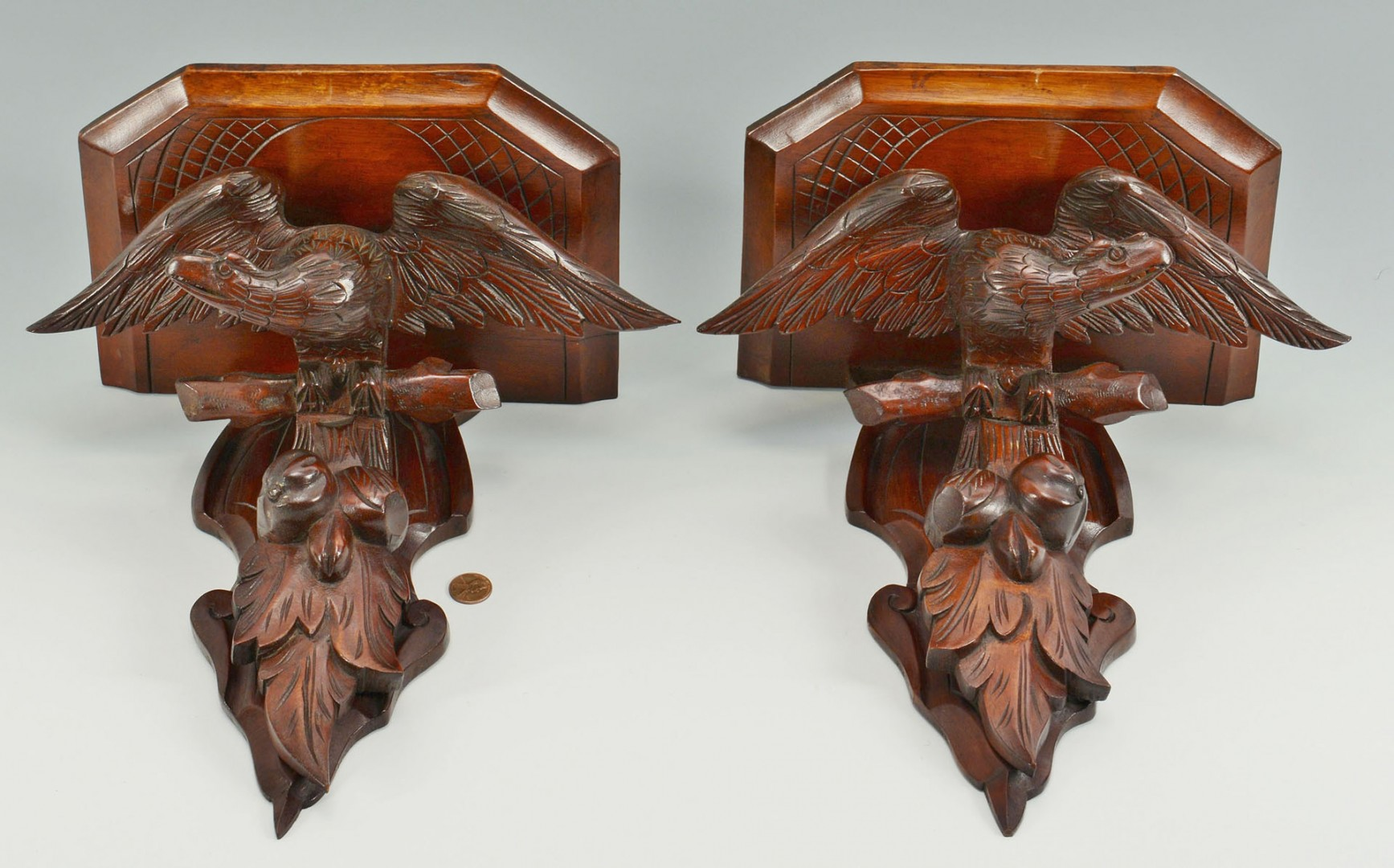 Pair Carved Mahogany Eagle Wall Brackets