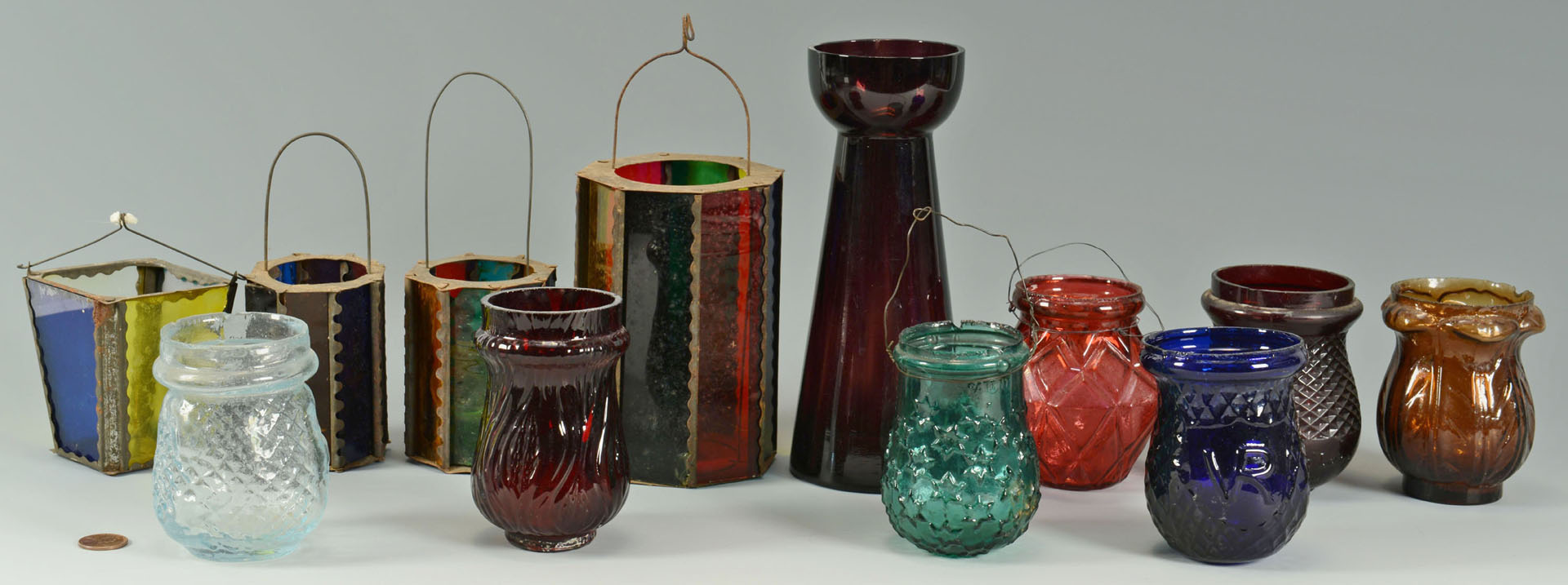 12 Colored Christmas lights, lanterns, and vase