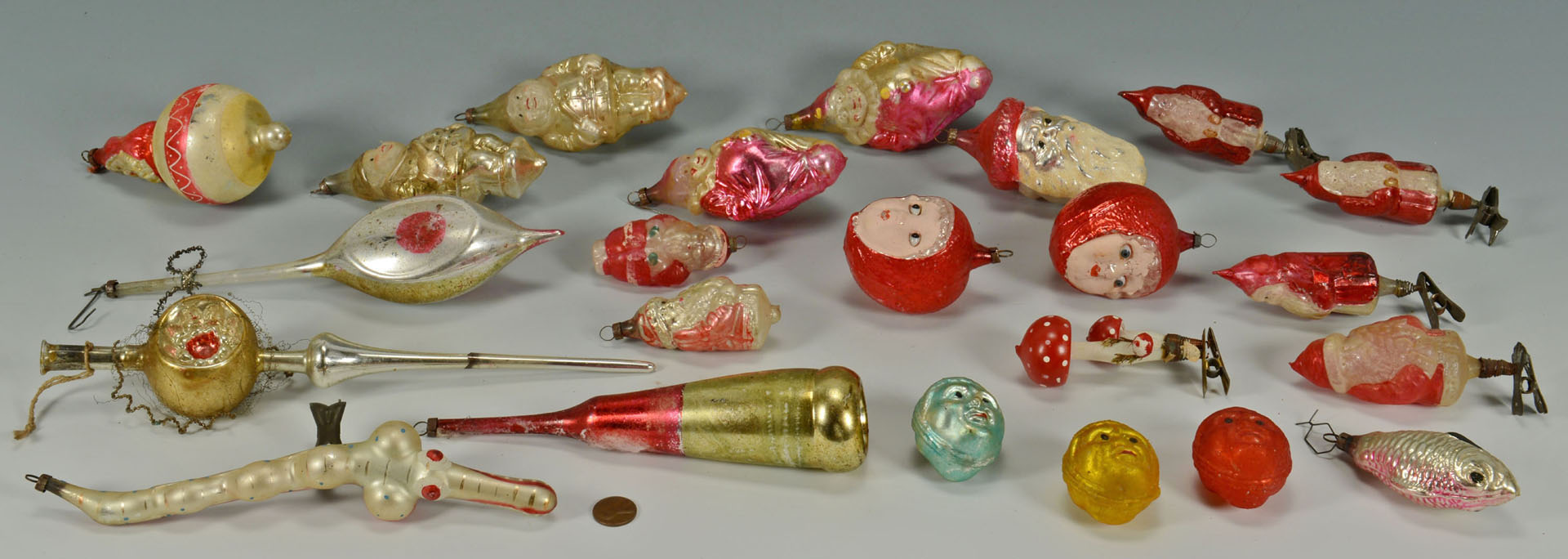 Lot 523: 23 Early glass Christmas Ornaments, Santa, Clowns