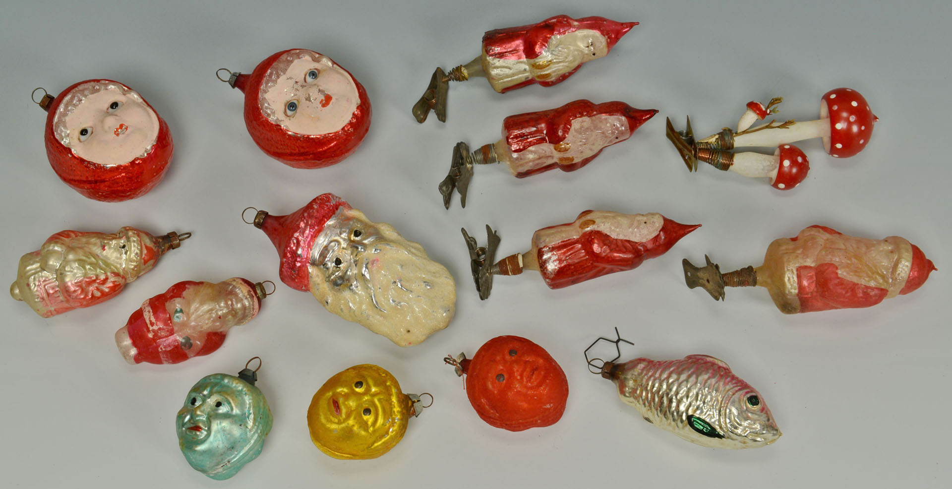 23 Early glass Christmas Ornaments, Santa, Clowns