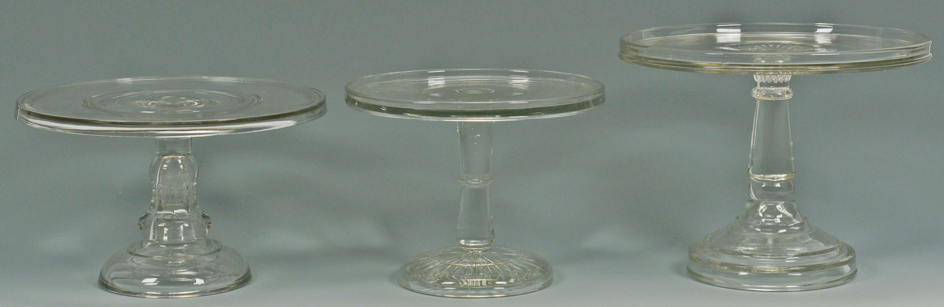 Lot 524: Glass cake stands, dome, whimseys – 8 pcs